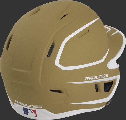 Back right of a two-tone matte vegas gold/white MACH Rawlings senior size batting helmet