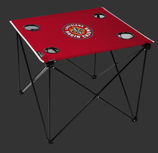 A red NCAA Louisiana Ragin' Cajuns deluxe tailgate table with four cup holders and team logo printed in the middle SKU #00713148111