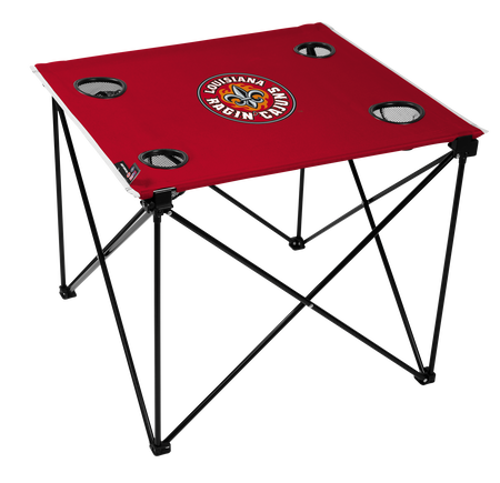A red NCAA Louisiana Ragin' Cajuns deluxe tailgate table with four cup holders and team logo printed in the middle