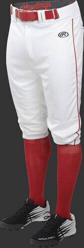 Front of Rawlings White/Scarlet Adult Launch Piped Knicker Baseball Pant - SKU #LNCHKPP-BG/B-88
