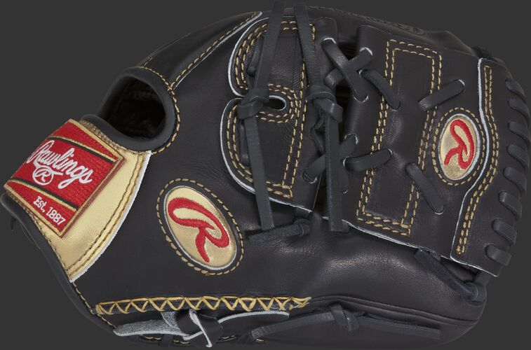 Thumb of a black RGG205-9B Gold Glove 11.75-inch infield/pitcher glove with hand sewn welt and black 2-Piece Solid web