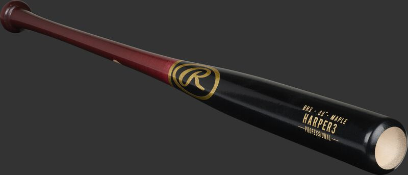 A black/wine red Bryce Harper Pro Label maple bat with a cupped end - SKU: BH3PL
