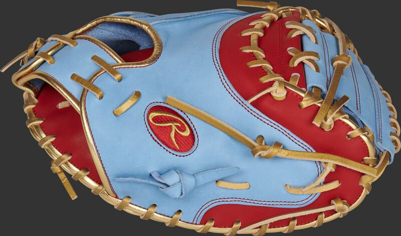 Thumb of a 2021 exclusive heart of the hide catcher's mitt with a columbia blue 1-piece solid web - SKU: RSGPROYM4SCBG