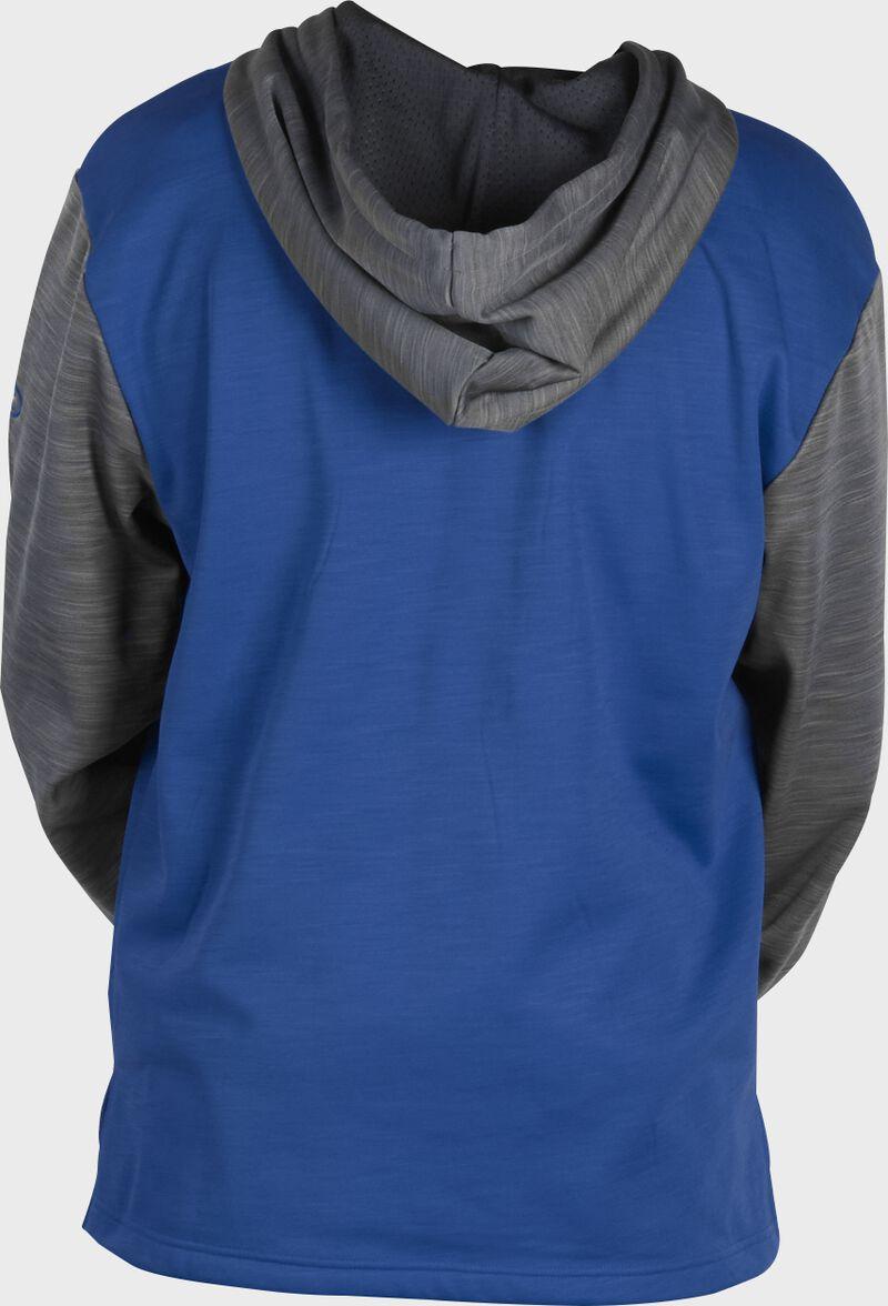 Back of a royal fleece hoodie with gray sleeves and hood - SKU: PFH2PRBB-R/GR