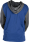 Back of a royal fleece hoodie with gray sleeves and hood - SKU: PFH2PRBB-R/GR image number null