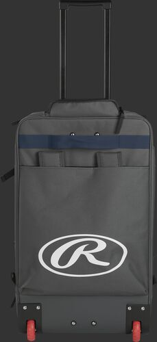 Back of a grey/navy R1801 wheeled catcher's equipment backpack with a large, white Oval R logo and red wheels