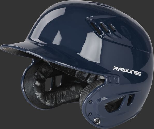 Left angle view of a R1601 gloss Velo helmet with a navy clear coat shell