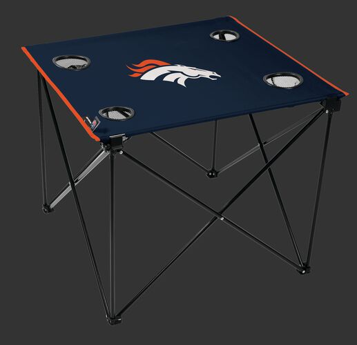 Rawlings Navy Blue NFL Denver Broncos Deluxe Tailgate Table With Four Cup Holders and Team Logo Printed In The Middle SKU #00701066111