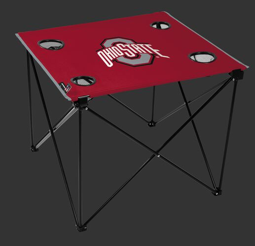 A red NCAA Ohio State Buckeyes deluxe tailgate table with four cup holders and team logo printed in the middle