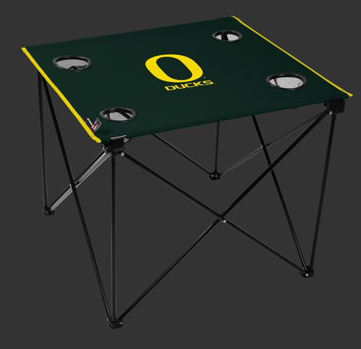 A green NCAA Oregon Ducks deluxe tailgate table with four cup holders and team logo printed in the middle SKU #00713095111