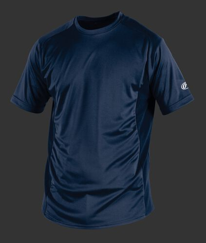 Front of Rawlings Adult Navy Short Sleeve Shirt - SKU #SSBASE