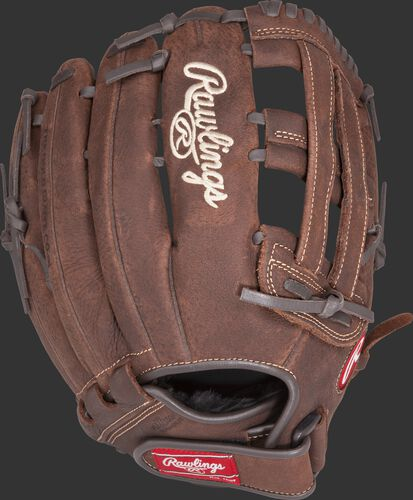 Back view of a 13-inch Player Preferred recreational baseball/softball glove with a brown back and Velcro wrist strap