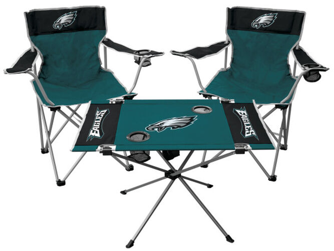 Front of Rawlings Green and Black NFL Philadelphia Eagles 3-Piece Tailgate Kit With Two Kickoff Chairs, An Endzone Table, And A Transport Bag With Team Logo SKU #01041080511