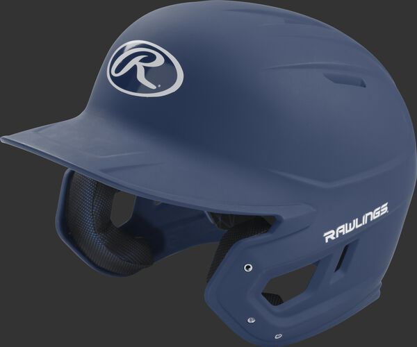 Left angle view of a Rawlings MACH Senior helmet with a one-tone matte navy shell