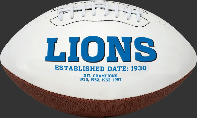 White NFL Detroit Lions Football With Team Name in Blue SKU #06541067811