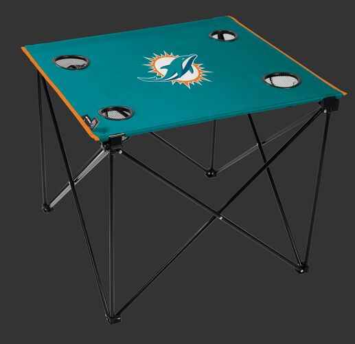 Rawlings Aqua Green NFL Miami Dolphins Deluxe Tailgate Table With Four Cup Holders and Team Logo Printed In The Middle SKU #00701074111