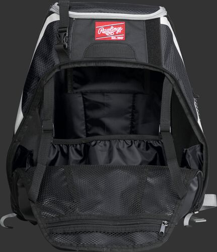 An open R500 Rawlings Players equipment backpack
