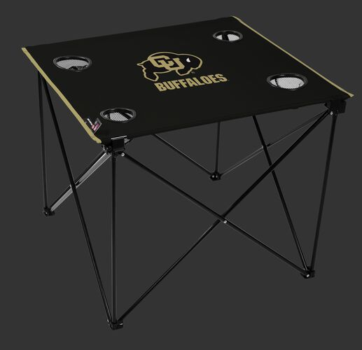 A black NCAA Colorado Buffaloes deluxe tailgate table with four cup holders and team logo printed in the middle SKU #00713071111