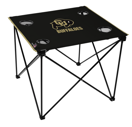 A black NCAA Colorado Buffaloes deluxe tailgate table with four cup holders and team logo printed in the middle