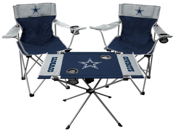 Front of Rawlings Silver And Navy NFL Dallas Cowboys 3-Piece Tailgate Kit With Two Kickoff Chairs, An Endzone Table, And A Transport Bag With Team Logo SKU #01041065511