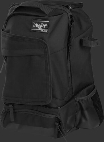 Left angle of a black R701 universal training backpack
