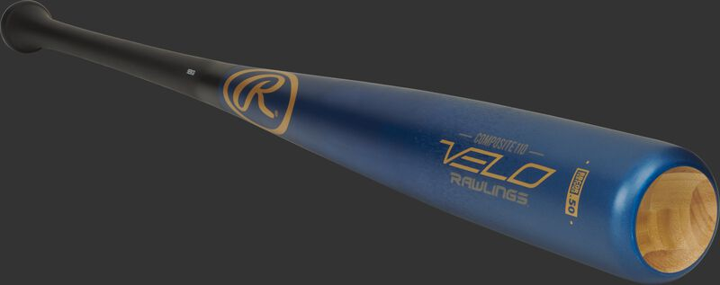 3/4 view of a R110CR Velo series composite/wood bat with a blue barrel