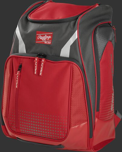 Front angle view of a scarlet Legion equipment backpack - LEGION-S