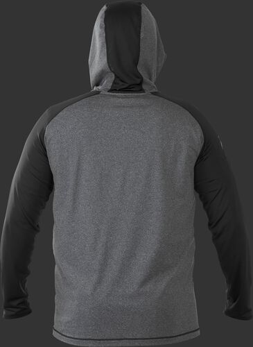 Back of Rawlings Black/Gray Adult Hurler Lightweight Hoodie - SKU #HLWH-GR/B-88