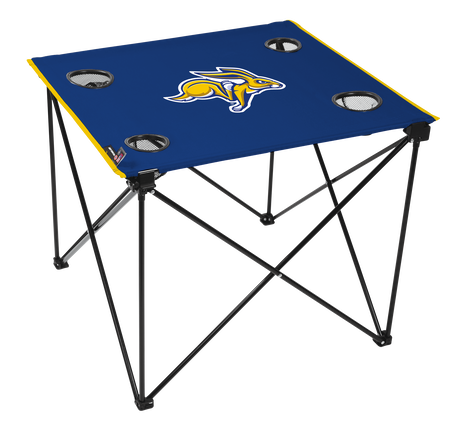 A blue NCAA South Dakota State Jackrabbits deluxe tailgate table with four cup holders and team logo printed in the middle