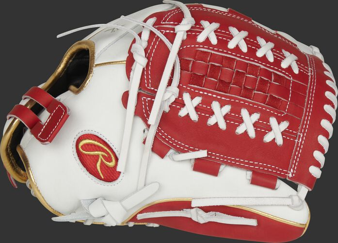 Thumb of a white RLA125-18S Liberty Advanced Color Series 12.5-inch fastpitch glove with a scarlet Double Laced Basket web