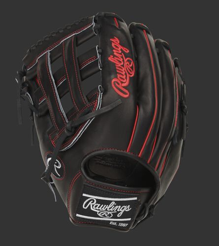 Black back of a Pro Preferred H-web outfield glove with a black Rawlings patch - SKU: PROS3029-6B