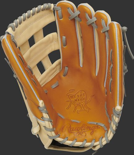 Tan palm of a Rawlings HOH outfield glove with a camel web and grey laces - SKU: PRO3039-6TC