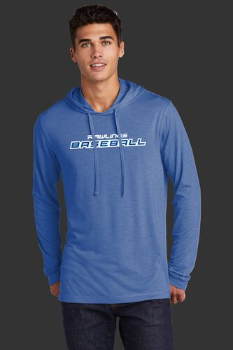 A man wearing a royal lightweight Rawlings Baseball performance hoodie - SKU: RSGLH-R