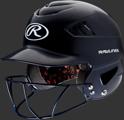 A navy RCFHFG Coolflo batting helmet with a navy facemask