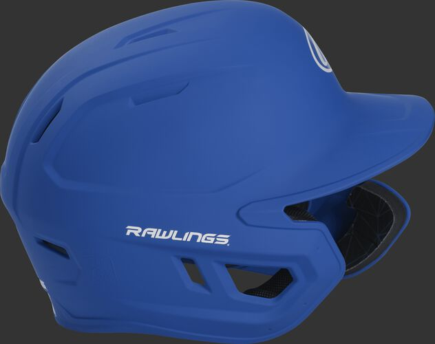 Right side of a MACHEXTR junior Rawlings batting helmet with a one-tone matte royal shell