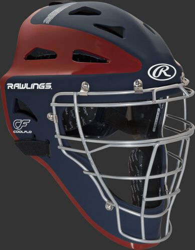 Front right of a navy/scarlet CHVELY Rawlings Velo catcher's helmet