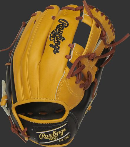 PRONP5-7BU 11.75-Inch Heart of the Hide V-web glove with a butterscotch back and black Rawlings Patch