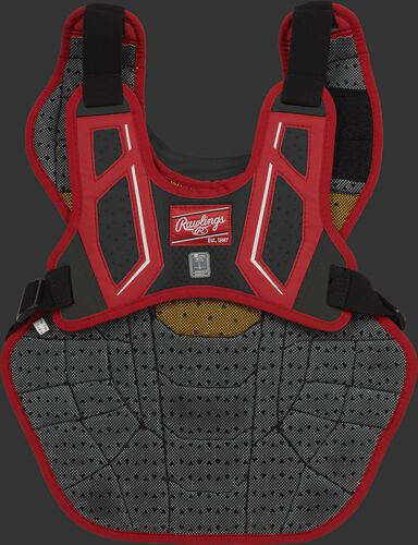 Back harness of a scarlet/black CPV2N intermediate Velo 2.0 chest protector with Dynamic Fit System 2.0