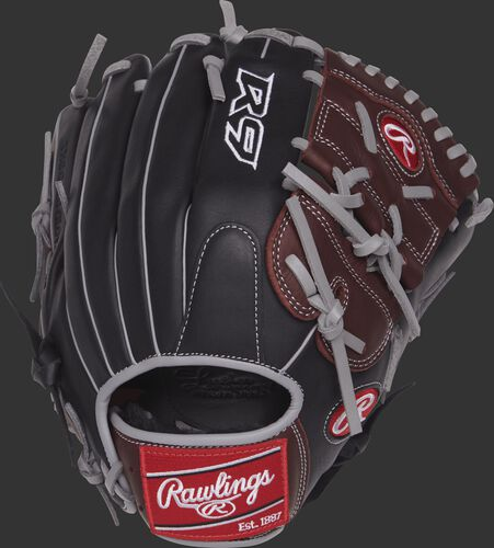 Back view of a R9206-9BSG 12-inch R9 glove with a black back and grey binding and welting