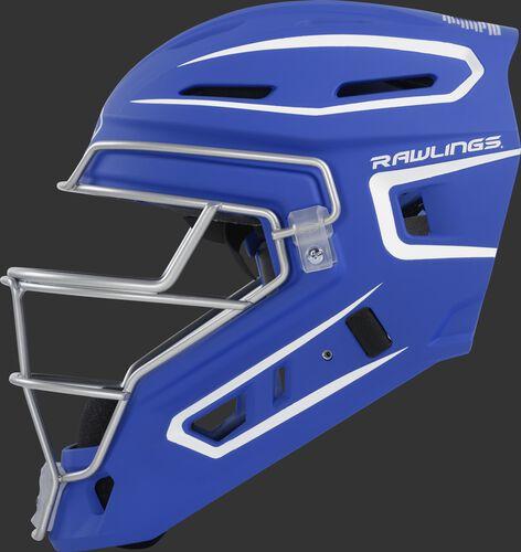 Left side of a royal CHV27J Rawlings hockey style Velo 2.0 catcher's helmet