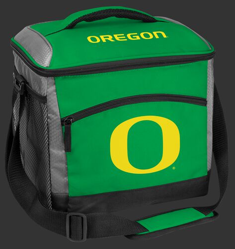 A green Oregon Ducks 24 can soft sided cooler with screen printed team logos - SKU: 10223095111