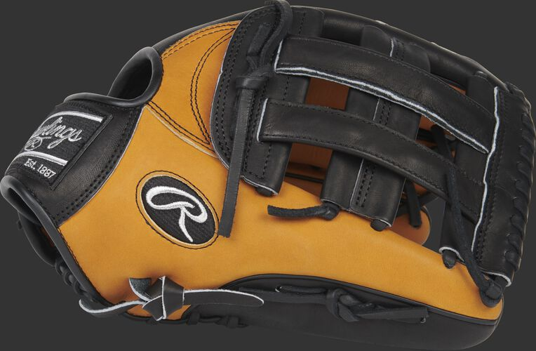 Thumb of a 2020 Heart of the Hide Horween outfield glove with a black H-web - SKU: PRO3039-6HTB