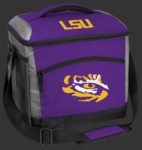 A purple LSU Tigers 24 can soft sided cooler with screen printed team logos - SKU: 10223035111