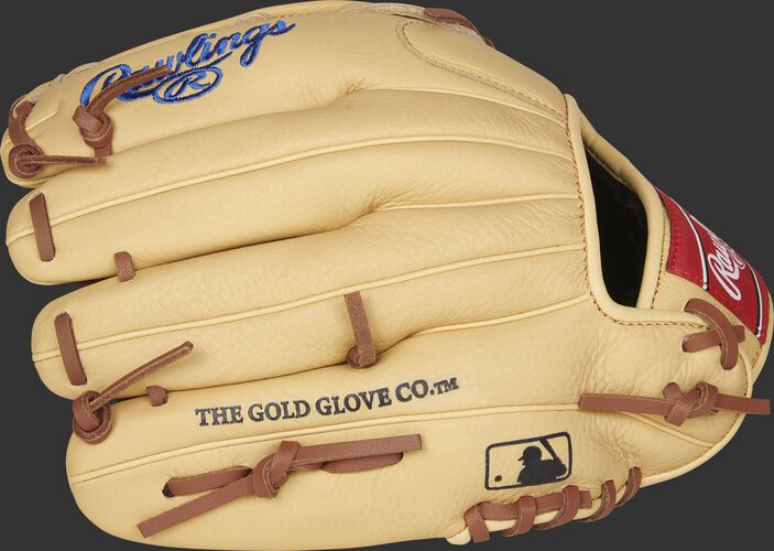 Back finger view of a Rawlings Kris Bryan Select Pro Lite glove with the MLB logo on the pinky - SKU: SPL115KB