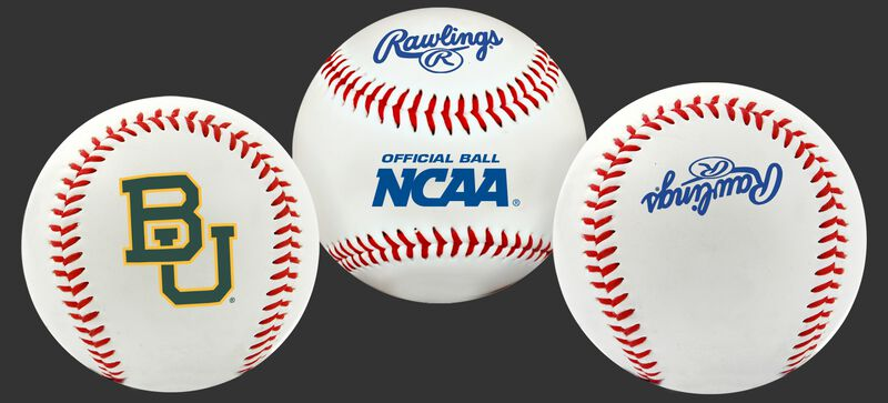 Three NCAA Baylor Bears baseballs with a team logo, NCAA and Rawlings logo