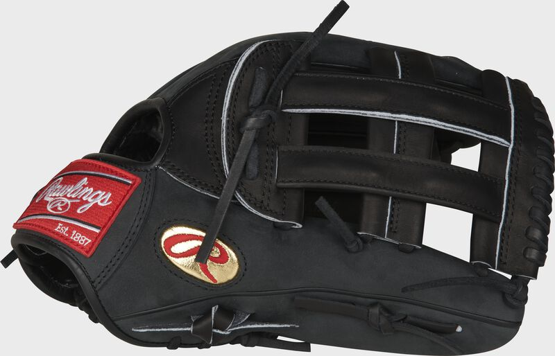 Thumb of a black Gameday 57 Series Cody Bellinger Heart of the Hide glove with a gold 'Oval-R' & H Web - SKU: PRO442-CB35