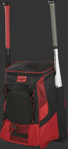 Front left of a scarlet/black R600 Rawlings players equipment backpack with two bats