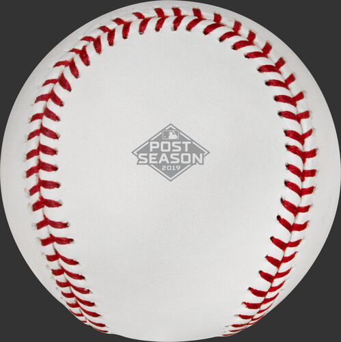 The Official 2019 MLB Postseason logo stamped on the side of the commemorative NLCS Champs baseball NLCS19CHMP