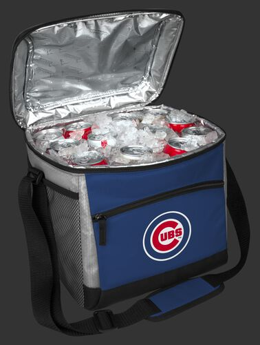 An open Chicago Cubs 24 can cooler filled with ice and drinks - SKU: 10200008111