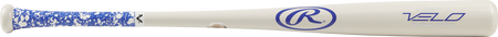 110RBV Velo birch wood bat with a white barrel and blue/white grip